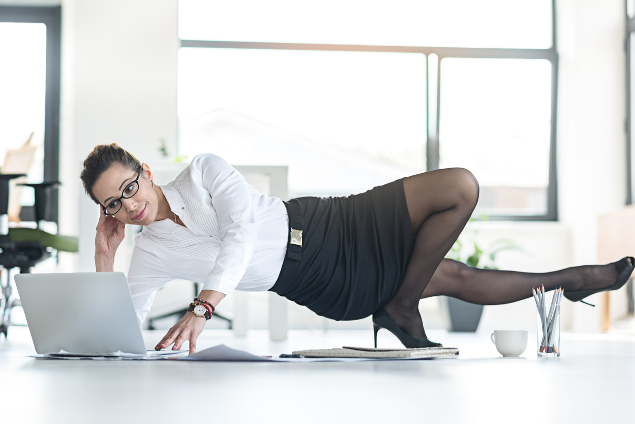Outgoing woman working in convenient posture